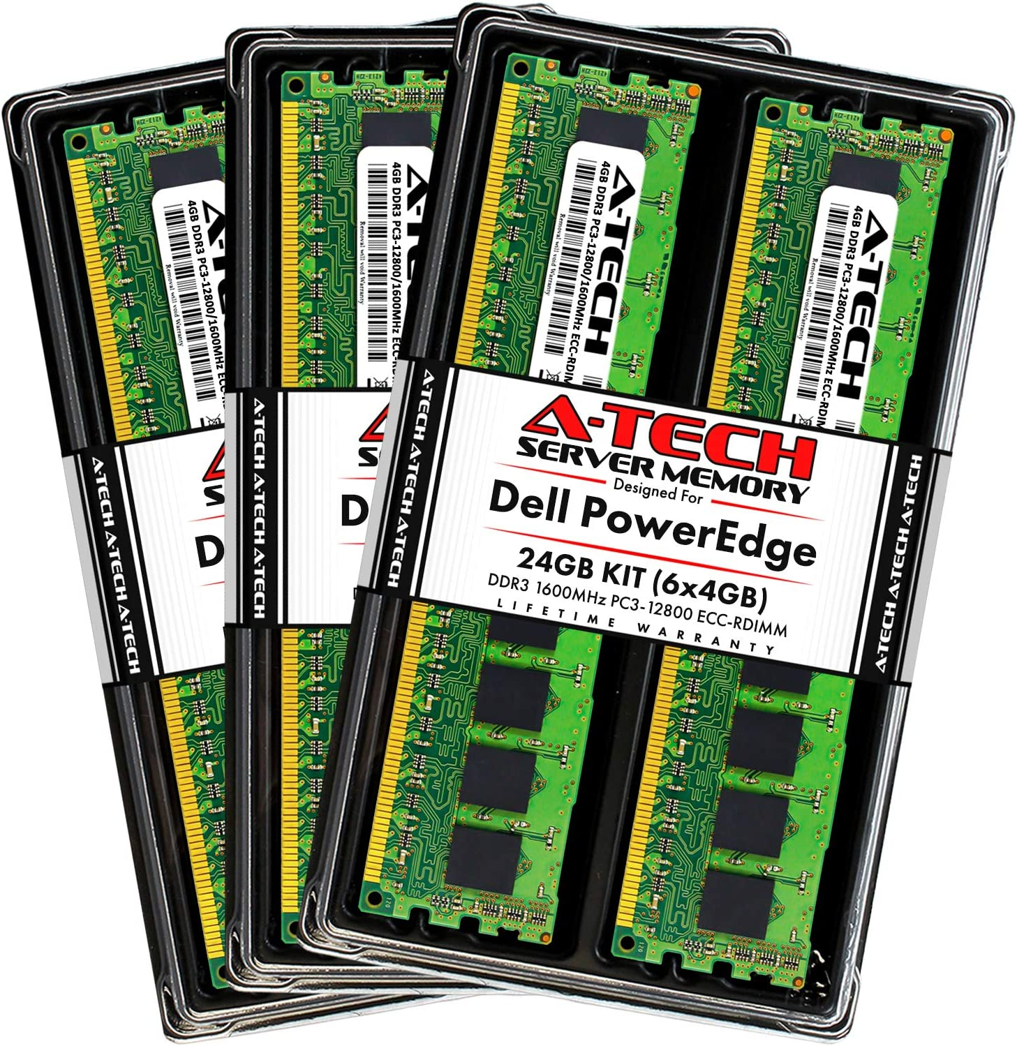 A-Tech 24GB (6x4GB) RAM for Dell PowerEdge R320, R420, R420XR, R520, R620, R720, R720XD, R820, R920 | DDR3 1600MHz ECC-RDIMM PC3-12800 1Rx4 1.5V ECC Registered DIMM Server Memory Upgrade Kit
