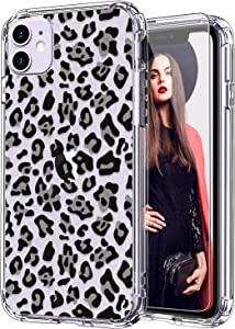 ICEDIO iPhone 11 Case with Screen Protector,Clear with Fashion Leopard Patterns for Girls Women,Shockproof Slim Fit TPU Cover Protective Phone Case for Apple iPhone 11 6.1 inch
