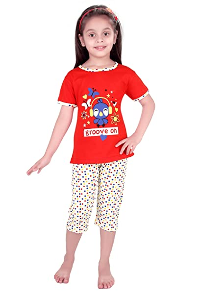 Punkster Light Blue Cotton Cap Sleeves Top   Capri Night Suit Set For Girls   Amazon.in  Clothing   Accessories fb2f1ff7d