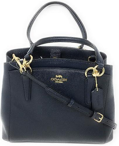 New Coach F67091 Black Minetta Crossbody Handbag Crossgrain Leather New