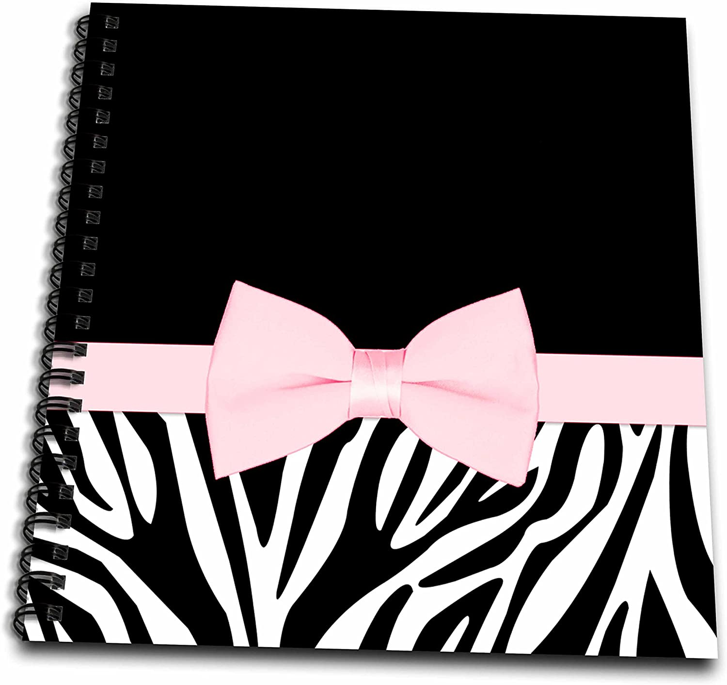 8 by 8-Inch 3dRose db/_128501/_1 Black and White Zebra with Pretty Pink Printed Bow Drawing Book