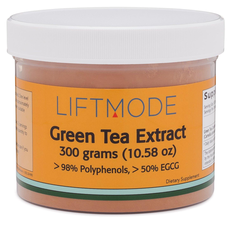 LiftMode Green Tea Extract Pure Bulk Powder Supplement - Natural Fat Burner for Weight Loss, Healthy Heart & Antioxidant | Vegetarian, Vegan, Non-GMO, Gluten Free - 300 Grams (600 Servings)