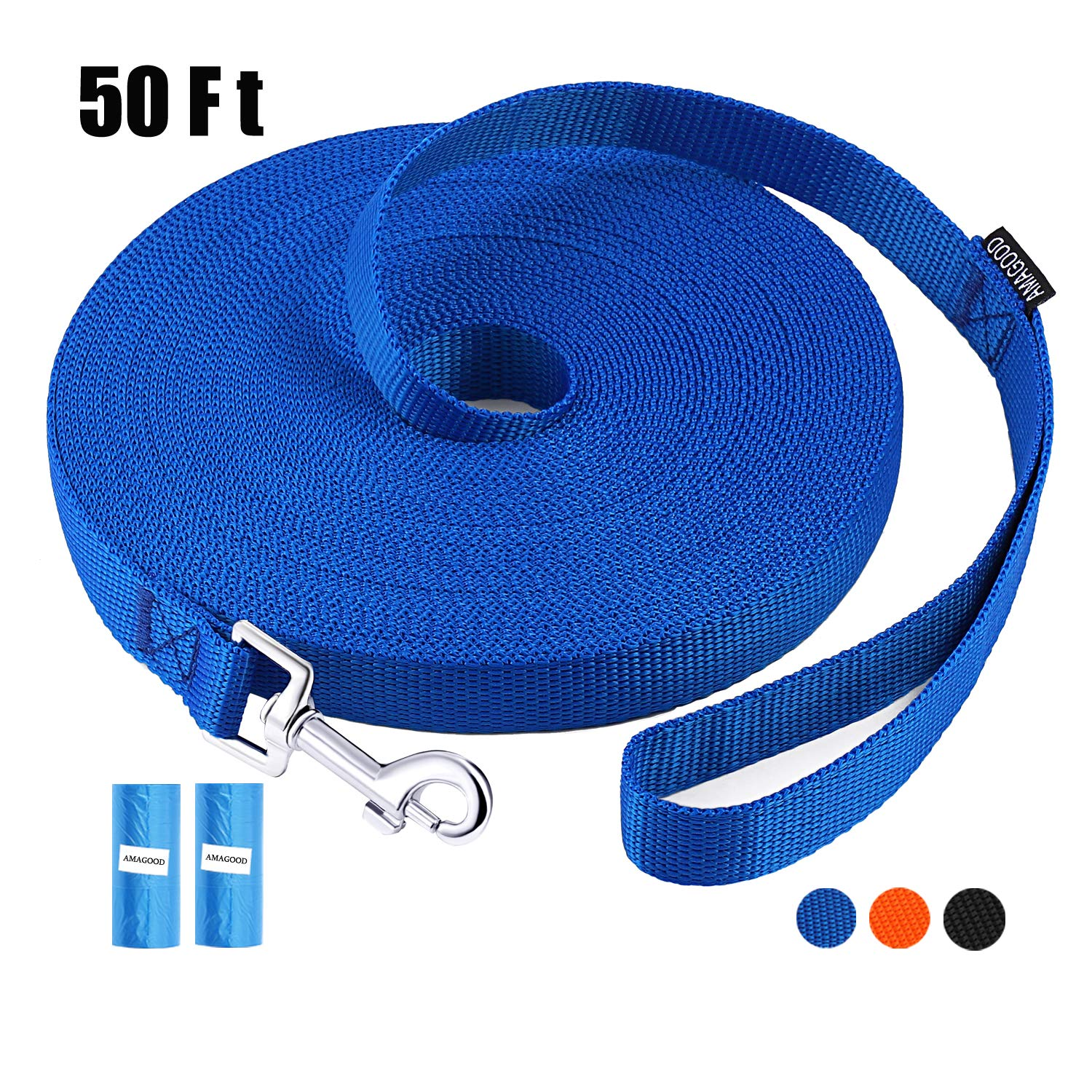 AMAGOOD Dog/Puppy Obedience Recall Training Agility Lead-15 ft 20 ft 30 ft 50 ft Long Leash-for Dog Training,Tie Out,Play,Safety,Camping (50 feet, Blue) by AMAGOOD
