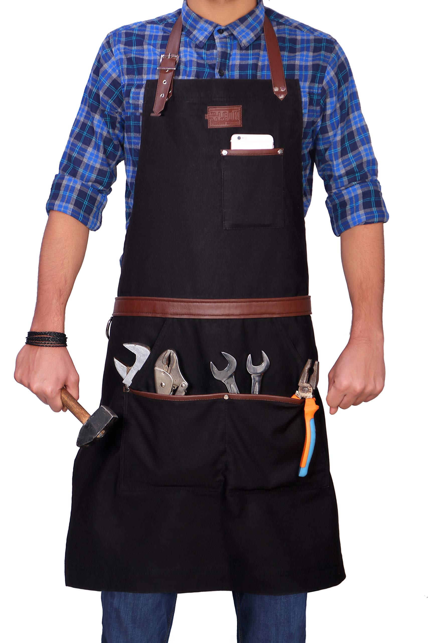 Facón Professional Grade Heavy Duty Work Apron for Tools - Multi-use, Adjustable with 5 Pockets and 2 Loops - Premium Quality Soft Waxed Canvas - Limited Edition - 35'' x 27'' (Black)