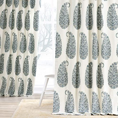 HPD Half Price Drapes PRTW-D42A-108 Printed Cotton Twill Curtain 1 Panel , 50 X 108, Blue