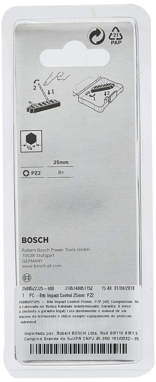 Schrauber Set Kreuzschlitz Bosch Professional Accessories 2608522325 Bosch Professional 8tlg Impact Control, 8 x PZ2 Bits-L/änge: 25mm, Pick and Click
