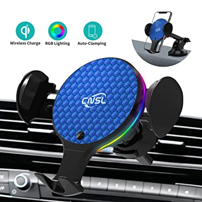 Wireless Car Charger Mount,CNSL Auto Clmping Car Phone Holder with RGB Light,10W Qi Fast Charging Air Vent Windshield Dashboard Phone Stand,Compatible with iPhone Samsung and More (Blue): Electronics