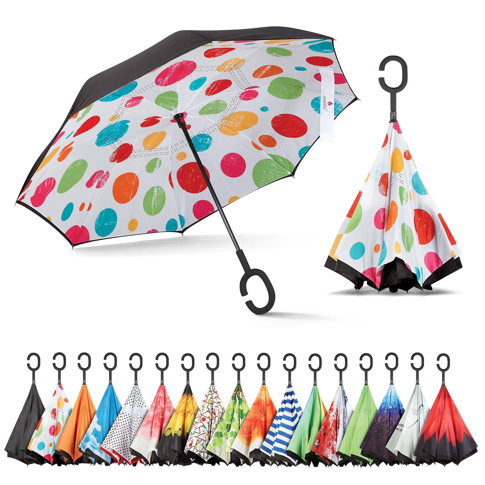 Sharpty Inverted Umbrella, Best Windproof Umbrella, Reverse Umbrella, Umbrella with UV Protection, Upside Down Umbrella with C-Shaped Handle (Polkadots)