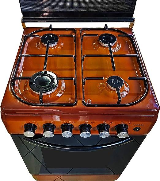 Cocina con horno de metano o GLP, placa de cocción de vidrio con 4 ...