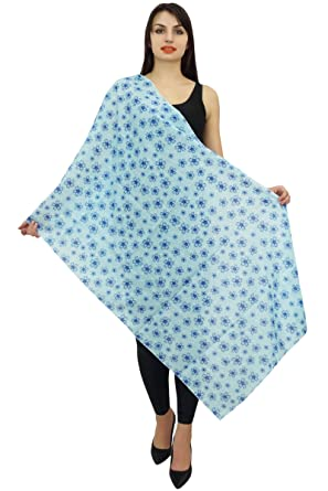 bb5a16679e0 Phagun Coton Voile Long Foulard Femme Floral Imprime Sarong Etole Dupatta- Bleu