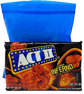 Act II Inferno (Ultra Picante) Microwave Popcorn 88g and Tesadorz Resealable Bags (Pack