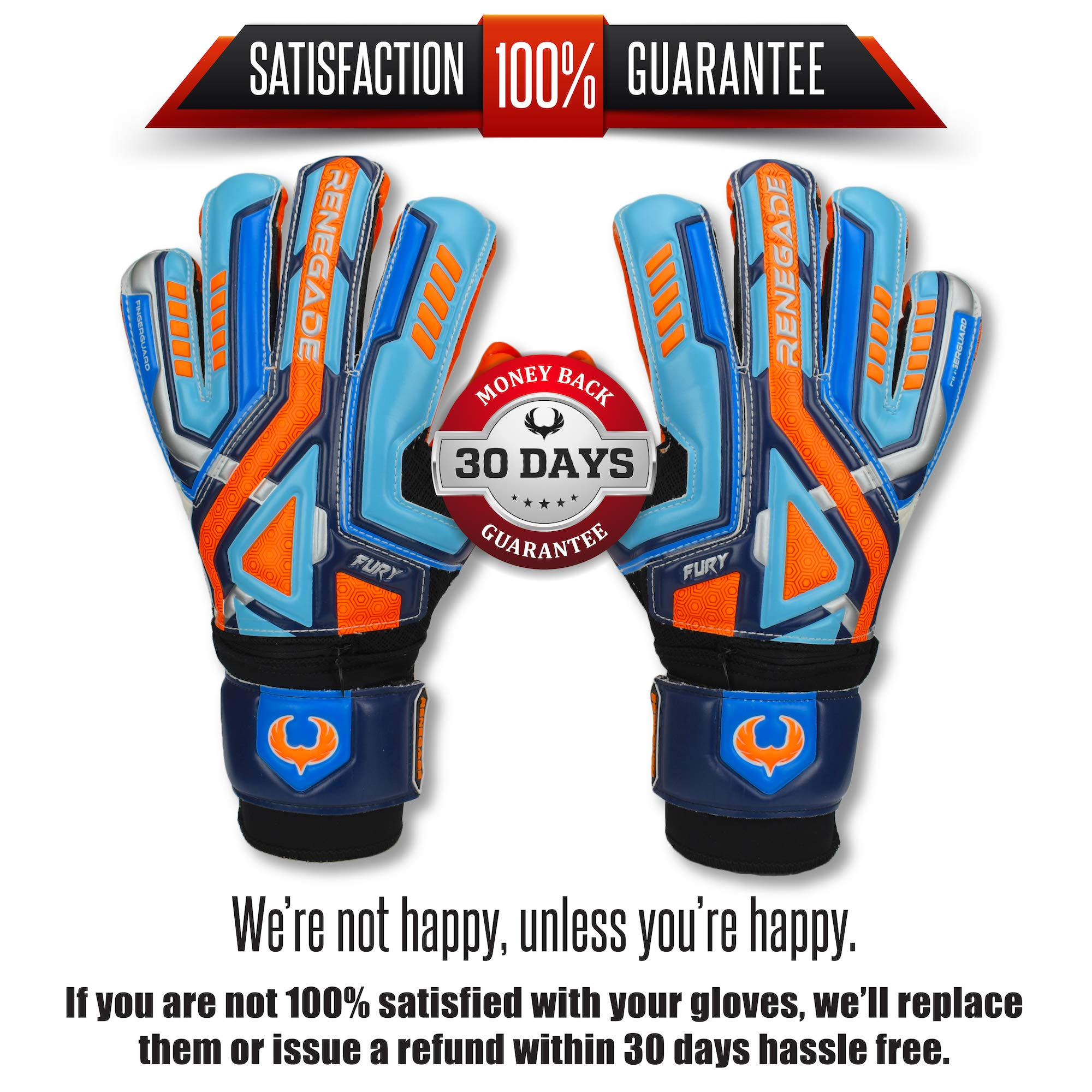 Renegade GK Fury Siege Roll Hybrid Cut Pro Level 4 Youth Goalkeeper Gloves with Pro-Tek Fingersaves - Kids Soccer Goalie Gloves Youth Size 7 - Boys & Girls Goalie Gloves Soccer - Blue, Orange, Black by Renegade GK (Image #2)