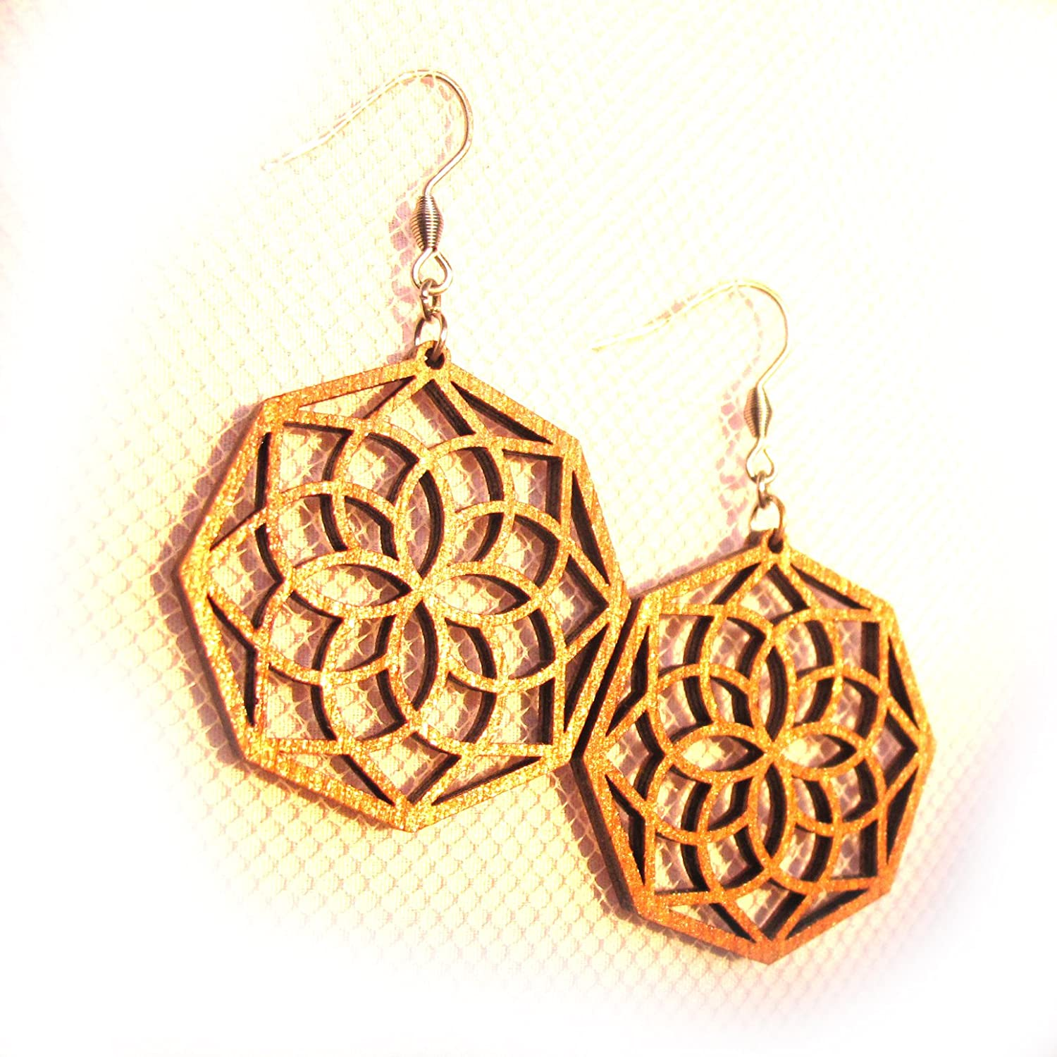 Wooden earrings Dreamcatcher, Hippie festival Jewelry, 0g, The Energy of Geometry Art
