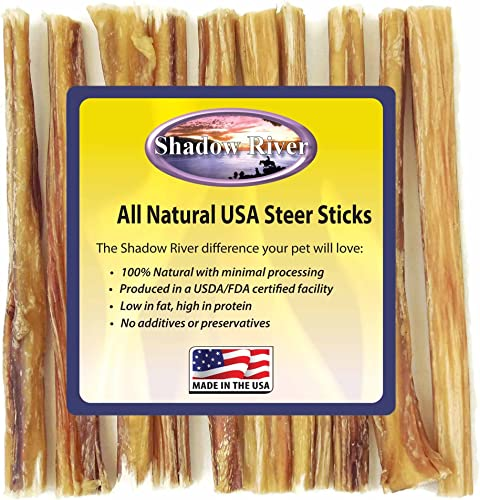Shadow River Thin 6 Inch Made in USA 100 Beef Steer Sticks for Small to Medium and Older Senior Dogs - Grass Fed Grain Free Chew Treats - Pack of 10