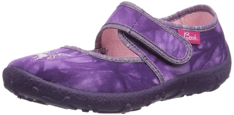 SUPERFIT Schuhe Hausschuhe LILA Glitzer Einhorn Textil Klettverschluss NEU