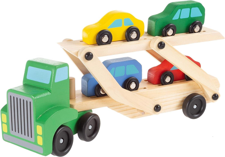 level25 - Camión de Madera portacoches de Juguete. Camión con Remolque de Dos Pisos, Cuatro Coches