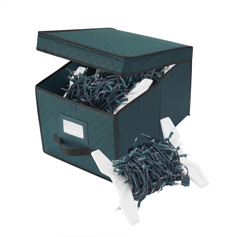 Elf Stor Green XMAS Light Strand Storage Box Organize over 400 Foot of Lights DTX International 5067 Ornament Box Green