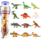 Zooawa [12 Pcs] Mini Dinosaur Play Set, Assorted Realistic Small Dinosaur Figure Model Toy for Kids and Toddlers - Colorful
