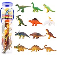 [12 Pcs] Mini Dinosaur Play Set, Zooawa Assorted Realistic Small Dinosaur Figure Model Toy for Kids and Toddlers - Colorful