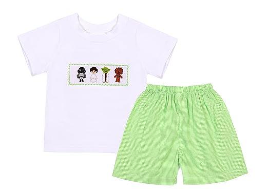 amazon com babeeni boy shorts set featured hand smocked star war