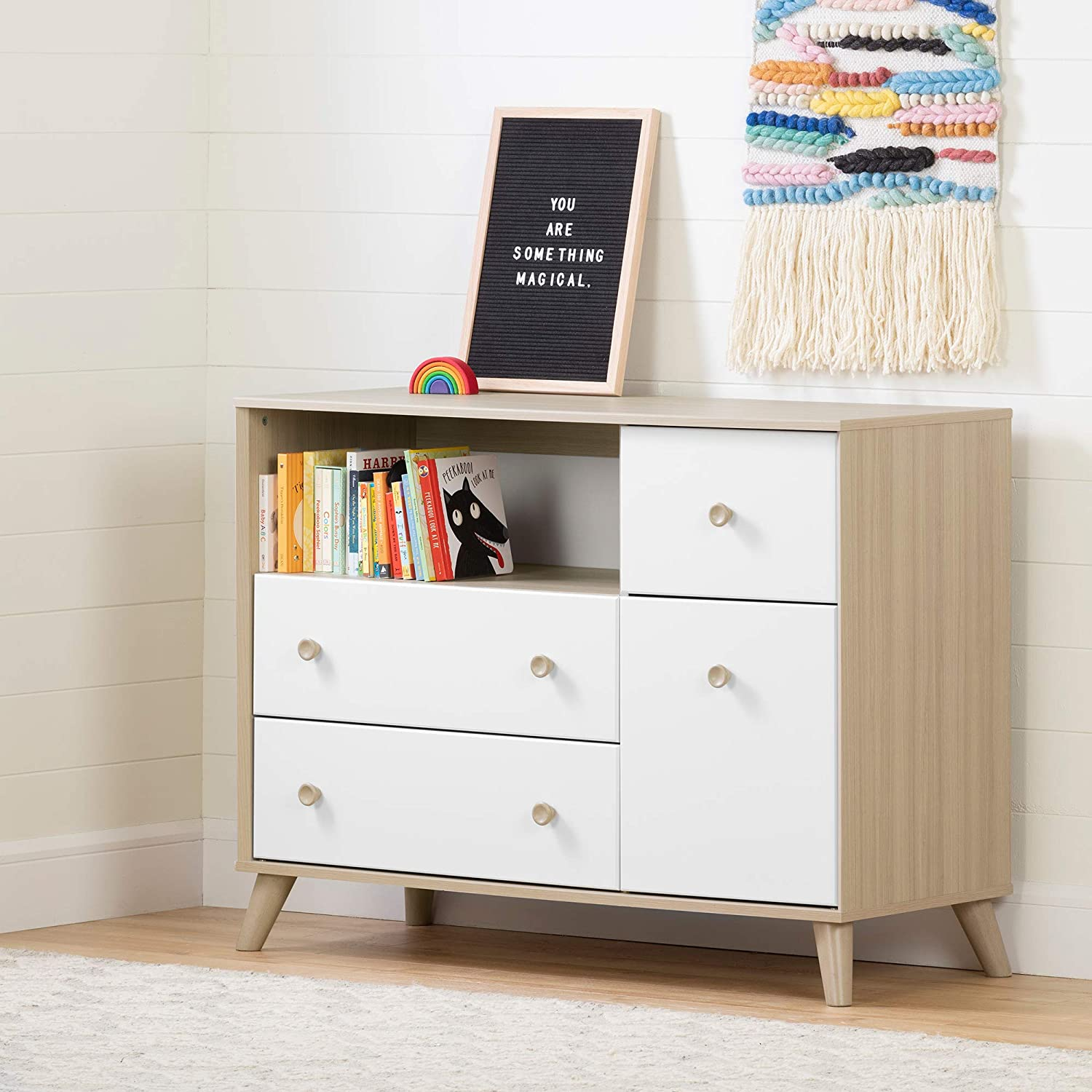 South Shore 12172 Yodi Changing Table with Drawers-Soft Elm and Pure White