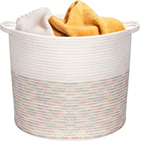 COSYLAND Tvättkorg av bomull vajer korg flätad korg filt korg förvaringskorg med handtag för filtar kudde och leksaker…