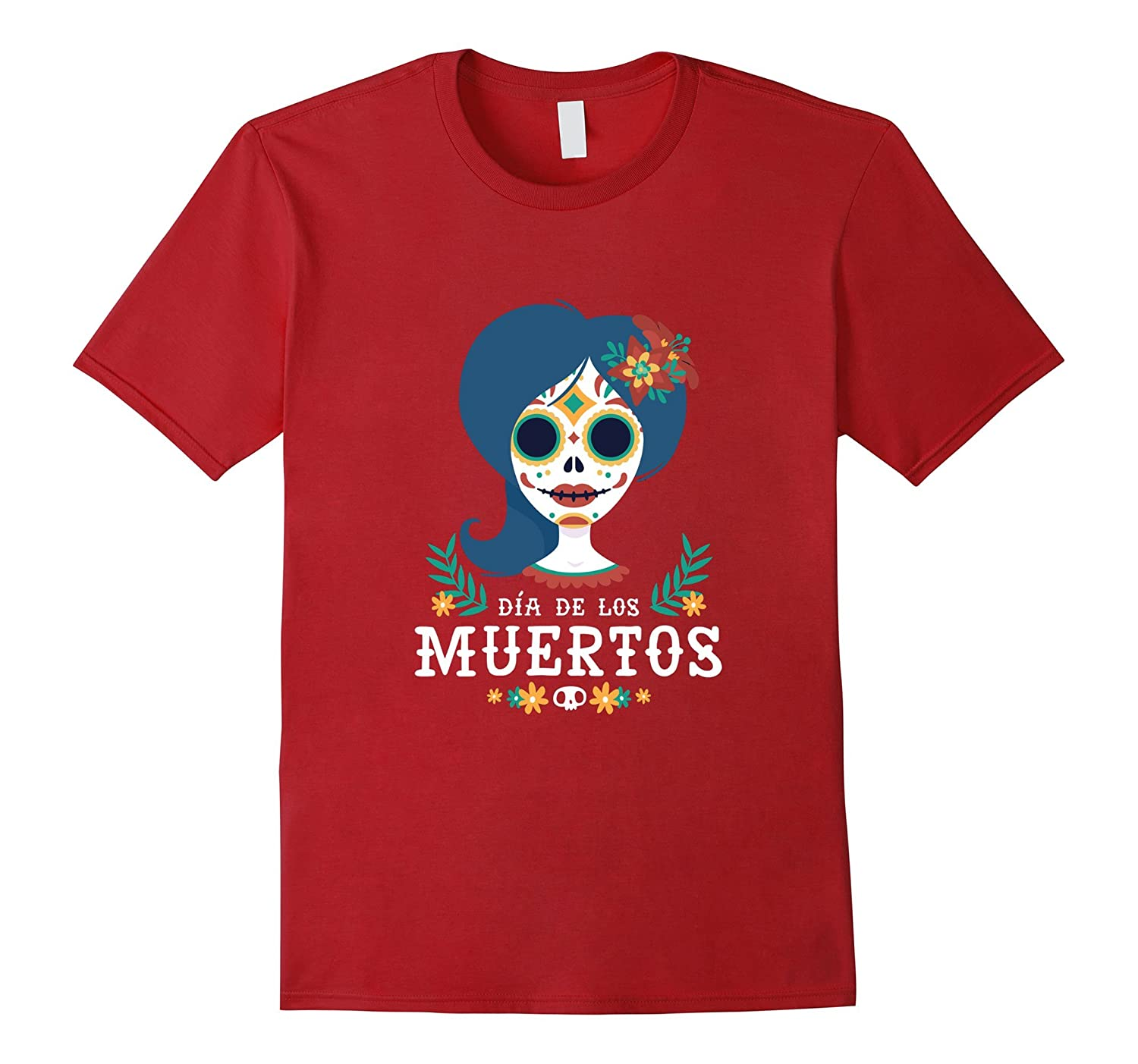Sugar Skull Cat Women/'s T-Shirt Cute Day of the Dead Los Muertos Halloween Tees