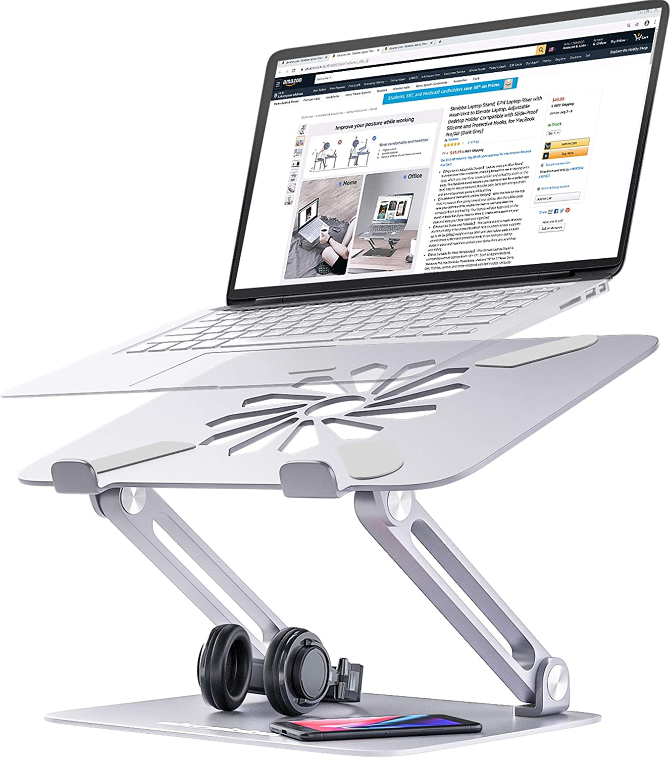 EPN Laptop Riser with Heat-Vent to Elevate Laptop Adjustable Height Laptop Stand Holder with Slide-Proof Silicone and Protective Hooks Dark Grey for MacBook Pro//Air Skrebba Laptop Stand