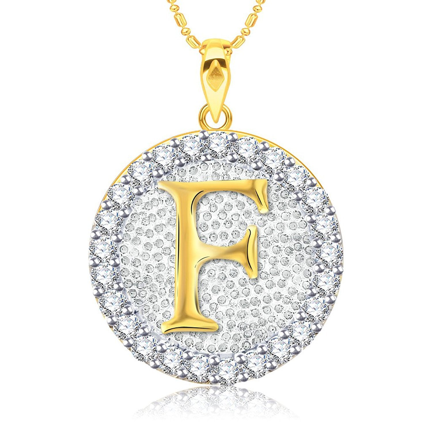 Ashley Jewels Simulated Diamond Studded Fashion Initial Alphabet Letter F Pendant Necklace in 14K Yellow Gold Plated With Box Chain