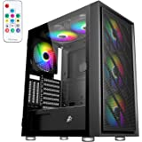 1STPLAYER Gaming PC Case ATX Mid-Tower with Stainless Steel Panel,PC Gaming Case with USB3.0/USB2.0/Audio Ports and 6pcs 140m