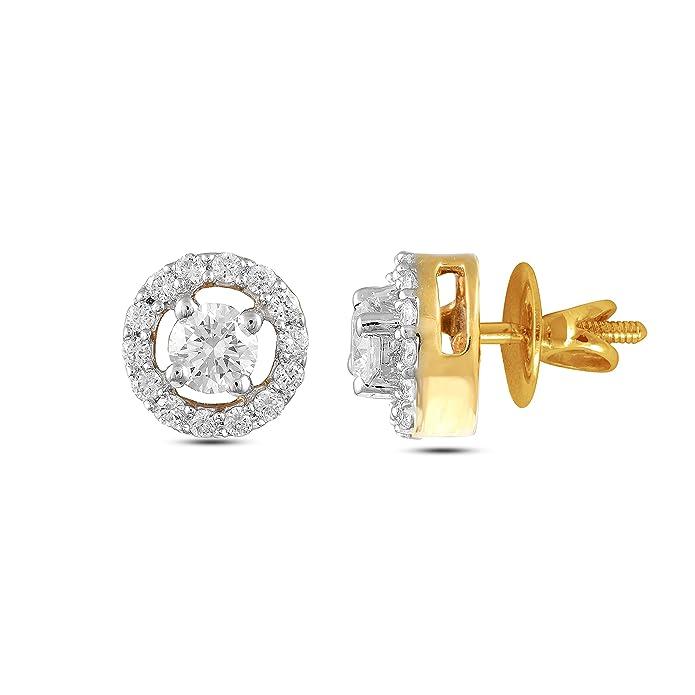 Ghanasingh Be True 18KT White Gold and Diamond Stud Earrings for Women Women