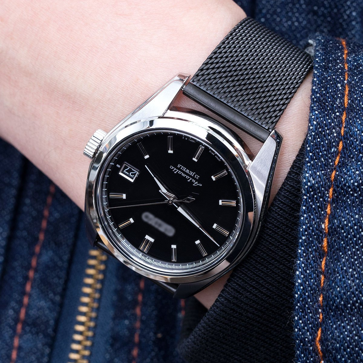 20mm Classic Vintage Knitted Superfine Wire Mesh Watch Band, PVD Black by MiLTAT (Image #2)