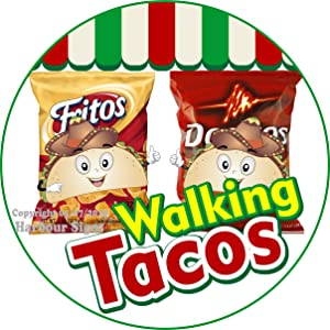 Harbour Signs Walking Tacos Decal Concession Restaurant Food Truck Exterior Circle Vinyl Sticker (18