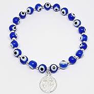 Lombrozo Joyeros Pulsera para Mujer de Ojos Redondos Grandes con Medalla de San Benito, color Azul