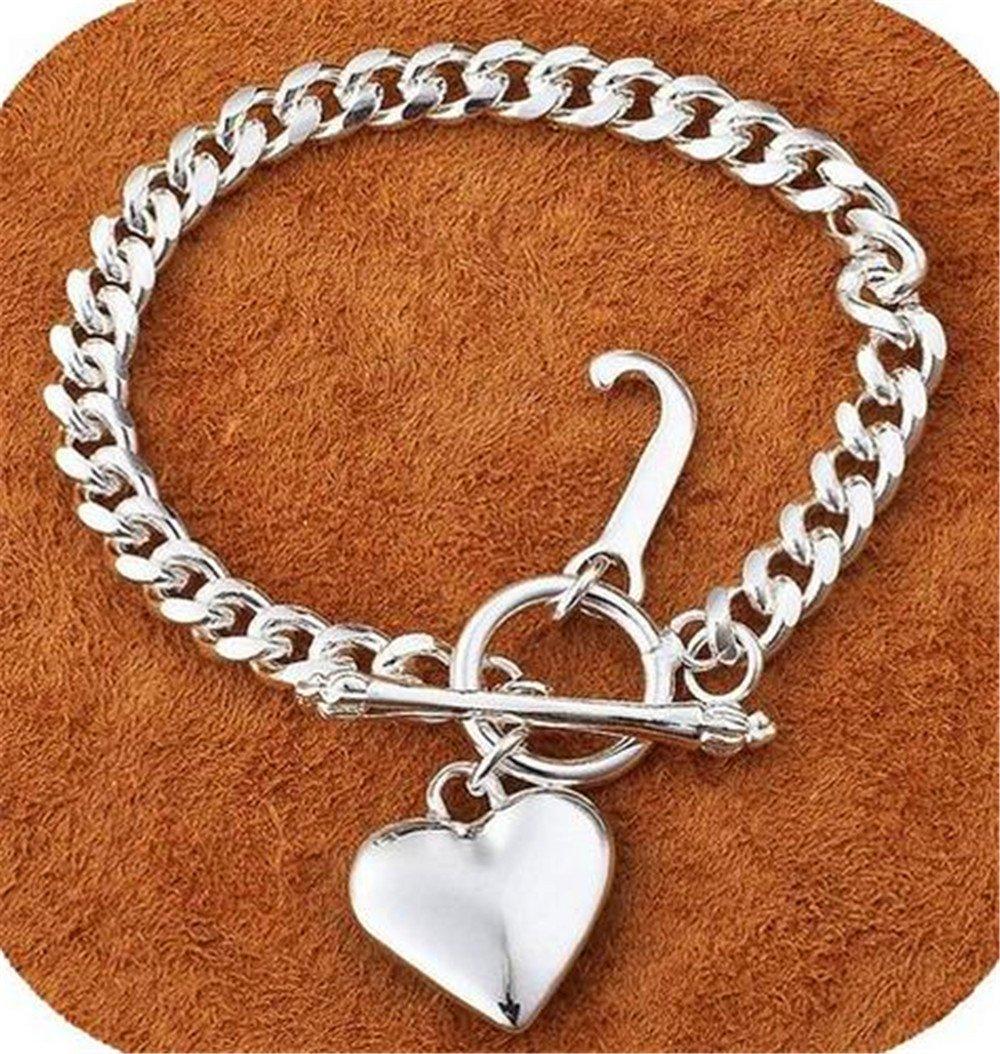 IVYRISE Charm 925 Silver Plated Jewelry Beautiful Heart Pendant Big Chain Bracelet Bangle