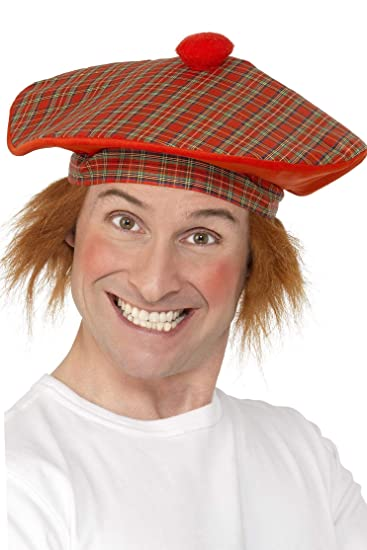 Amazon.com  Smiffys Adult Men s Tartan Scottish Hat with Red Hair ... 93ac36a600b