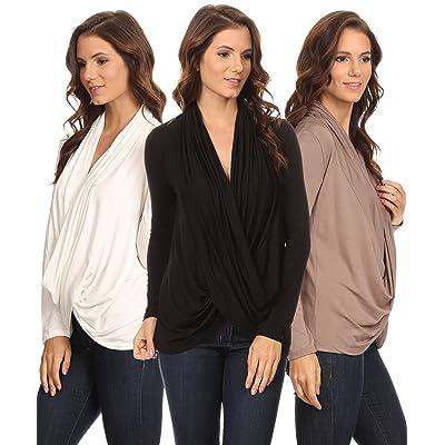 3 Pack Women's Long Sleeve Criss Cross Cardigan: BLACK/COFFEE/IVORY