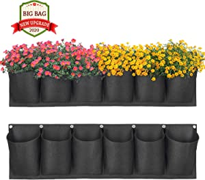 ANGTUO Hanging Garden Planter with 6 Pockets, New Layout Waterproof Wall Hanging Flowerpot Bag is The Perfect Solution for Garden Home Decoration (2020)