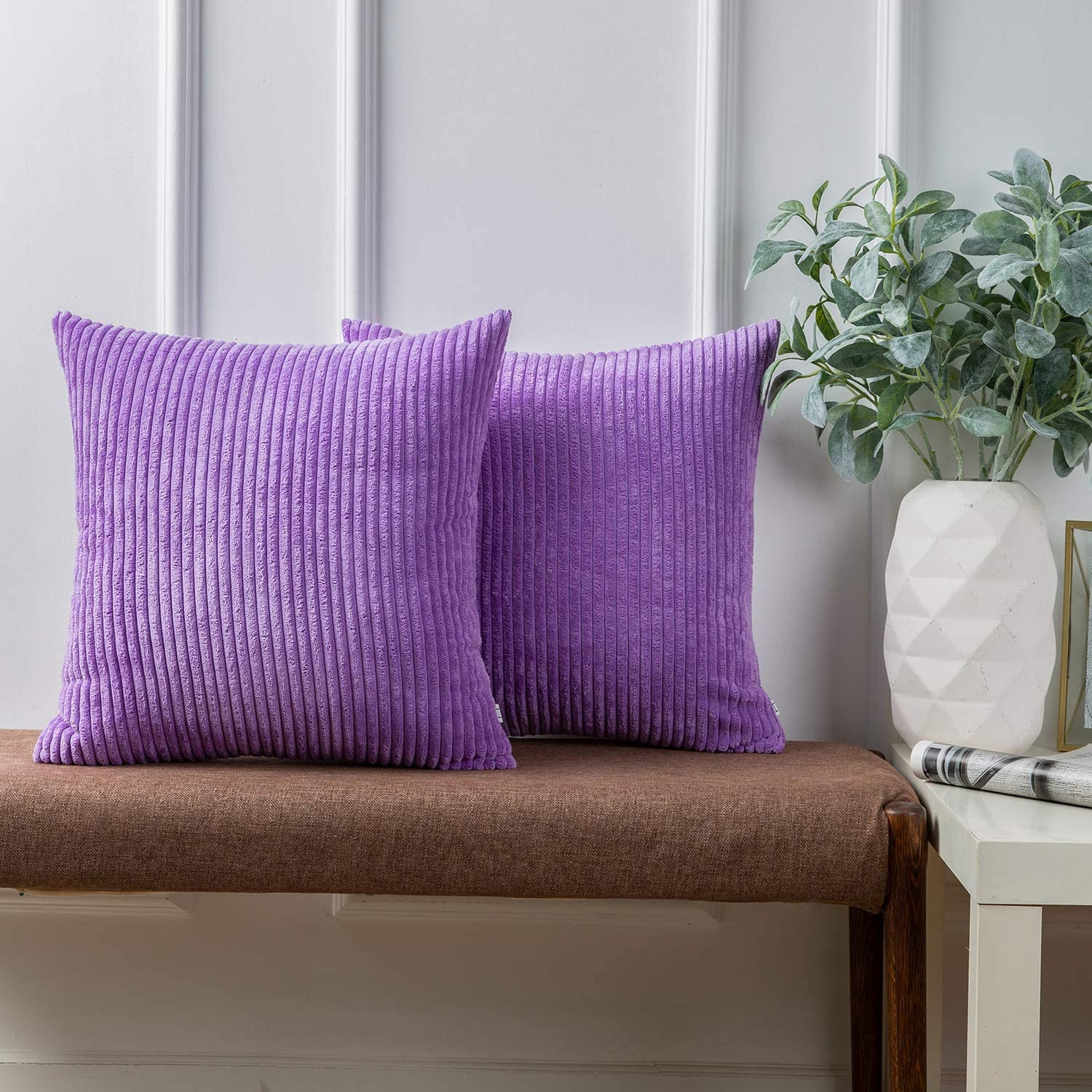 Ashler Pack of 2 Corduroy Soft Velvet Striped Solid Square Throw Pillow Covers Cushion Cases 18 x 18 inch Violet