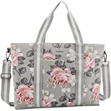 MOSISO Laptop Tote Bag for Women (Up to 17.3 inch), Canvas Rose Multifunctional Work Travel Shopping Duffel Carrying Shoulder