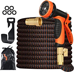 Aibrisk 100FT Expandable Garden Hose Lightweight Flexible Water Hose with 10 Function Nozzle Durable Superior Strength 3750D 4-Layers Latex Core Solid 3/4
