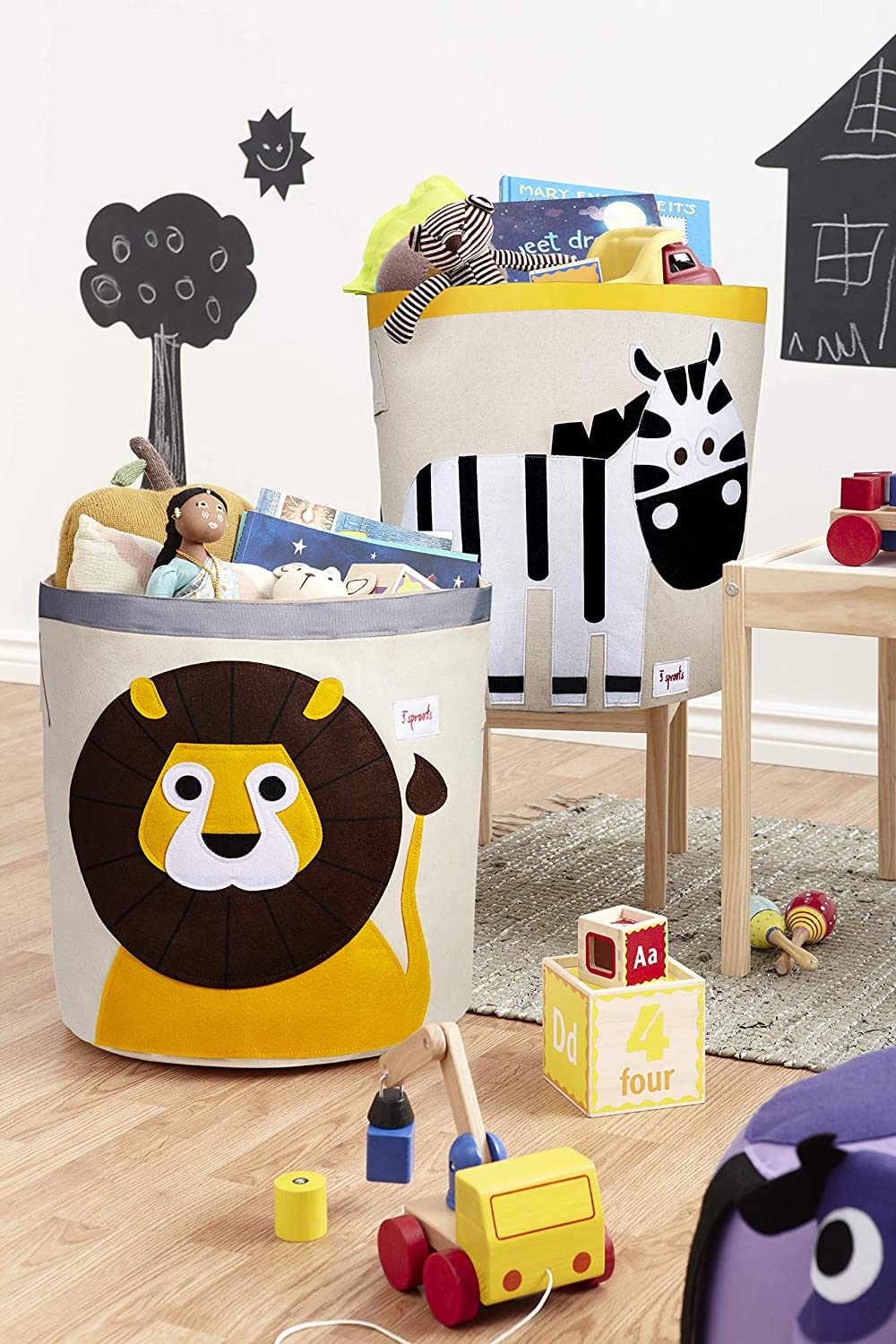 3 Sprouts Canvas Storage Bins - Laundry and Toy Basket for Baby and Kids, Safari Set