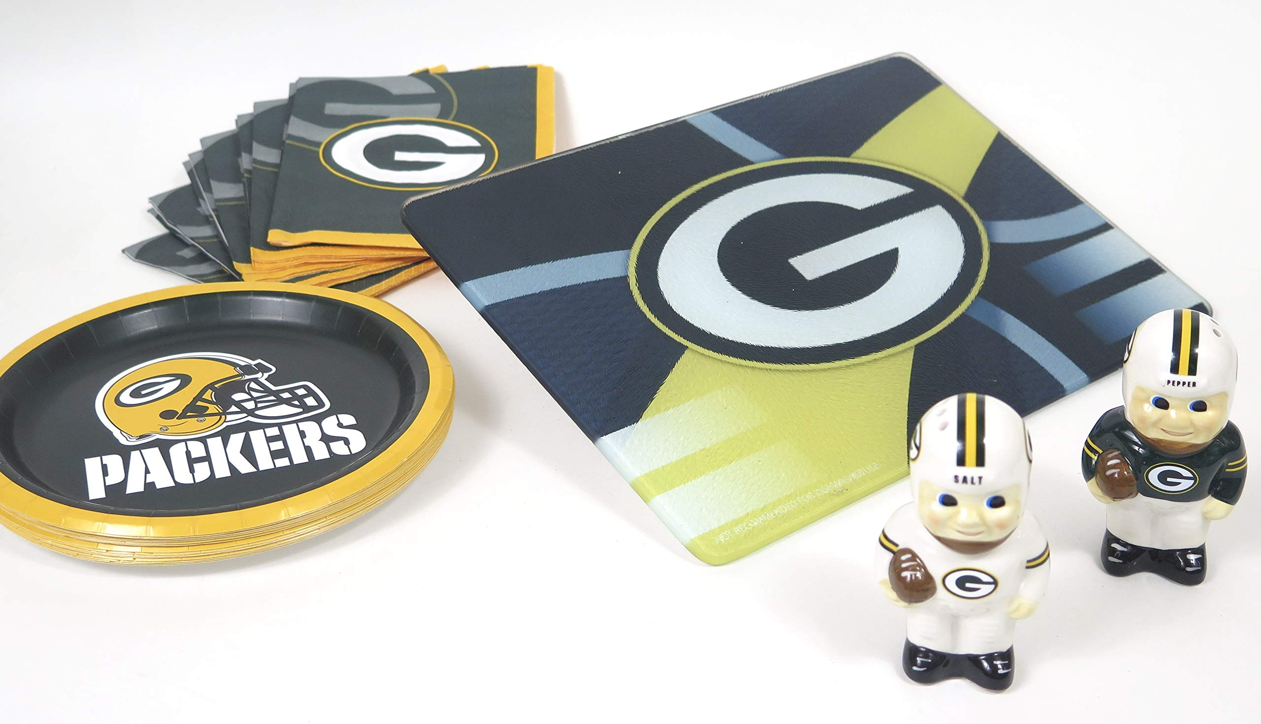 Green Bay Packers Kitchen set, includes cutting board, ceramic salt pepper Shakers, paper plates,Outstanding gift for Valentine's gift. by Green