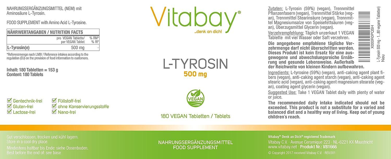 L-Tyrosine 500 mg - 100% vegano (180 tabletas veganas): Amazon.es: Salud y cuidado personal