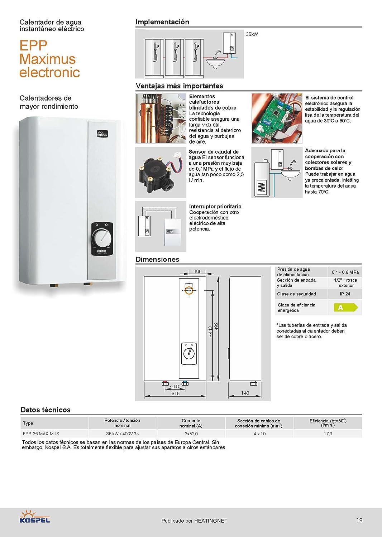 Grande electrónico - calentador de agua Kospel PPE 36kW: Amazon.es: Bricolaje y herramientas