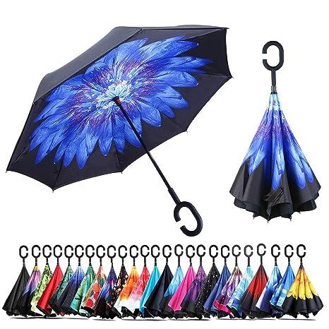 Paraguas a prueba de viento y protector solar a prueba de lluvia Paraguas reversible Paraguas con