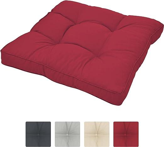 Beautissu Cojines para Muebles de jardín XLuna Lounge sillas de Mimbre de Exterior Asiento Grueso Acolchado Aprox. 50x50x10 cm Rojo: Amazon.es: Jardín