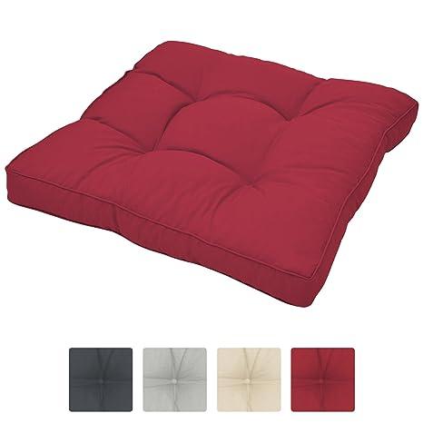 Beautissu Cojines para Muebles de jardín XLuna Lounge sillas de Mimbre de Exterior Asiento Grueso Acolchado Aprox. 70x70x10 cm Rojo