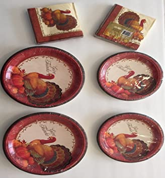 Thanksgiving Plates and Napkins Disposable Paper Plates Dinnerware Set 24 ct Dinner Plates 24 ct & Amazon.com | Thanksgiving Plates and Napkins Disposable Paper Plates ...