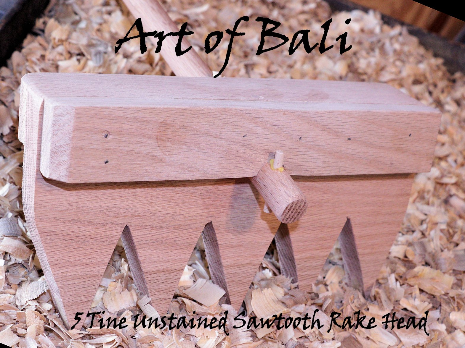 "Art of Bali 48"" 7 Tine Unstained Saw Tooth Zen Garden Rake – Art of Bali Original by Art of Bali"